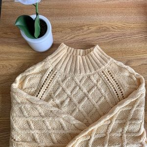 Yellow mock neck knit sweater from American Eagle